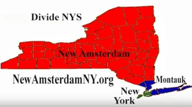 The proposed split of New York State regions.