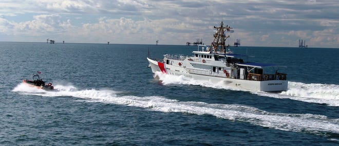 A Bollinger-built Fast Response Coast Guard cutter undergoes testing in the Gulf of Mexico.