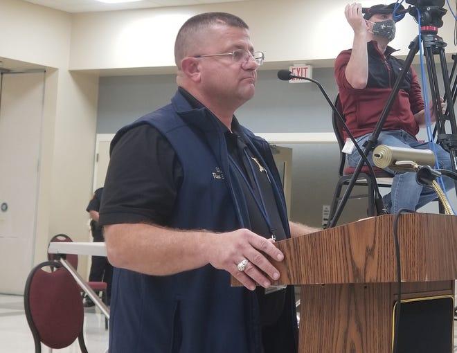 Terrebonne Parish Sheriff Tim Soignet addresses the Terrebonne Parish Council's Public Services Committee about Halloween at the Houma-Terrebonne Civic Center Monday night.