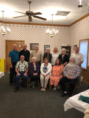 Smithville class of 1970 celebrated its 50th year reunion. Class members who attended were, from left, front row, Dennis Horst, Kathy Good, Anna Armentrout, Marlene Keith and Eli Troyer; back row, Wes Miller, Bob Elvey, Tom Armentrout, Karen Beery, Linda Blanchard, Rita Gill and Tom Kieffaber.