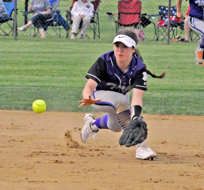 Triway's Hailey Massaro fields a ground ball during her freshman year.