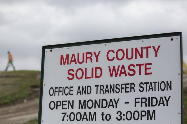 Work continues at the Maury County Solid Waste Department's transfer station on Lawson White Drive in Columbia, Tenn., on Thursday, March 12, 2020.