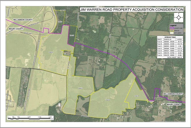Spring Hill leaders are discussing a potential purchase of 507 acres located east of I-65 off Jim Warren Road as an area of potential development. (Courtesy graphic)