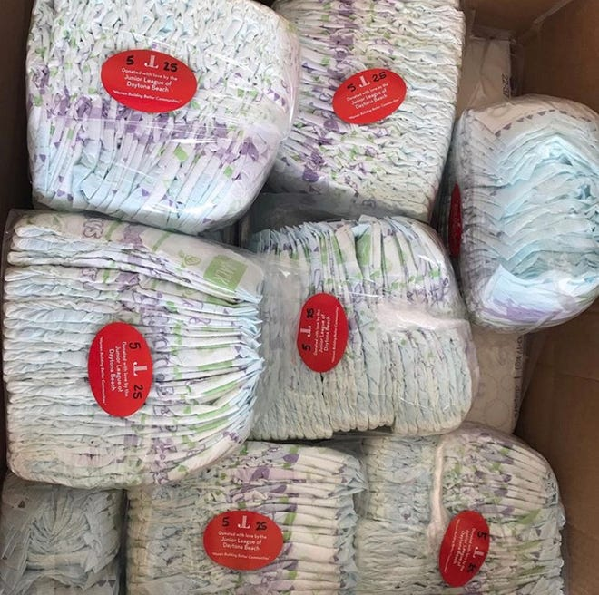The Junior League of Daytona Beach partners with local nonprofit agencies to distribute diapers and wipes to families in need.