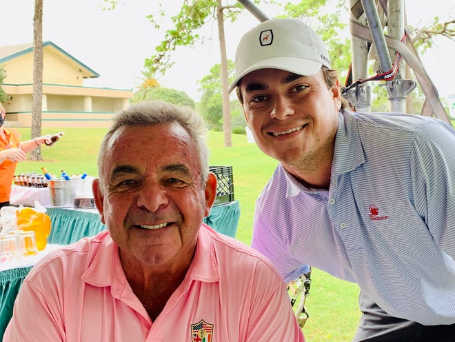 World Golf Hall of Fame member Tony Jacklin (left) and his son Sean complete a Jacksonville connection this week at the LOCALiQ Series Jacksonville Championship, at Hidden Hills.