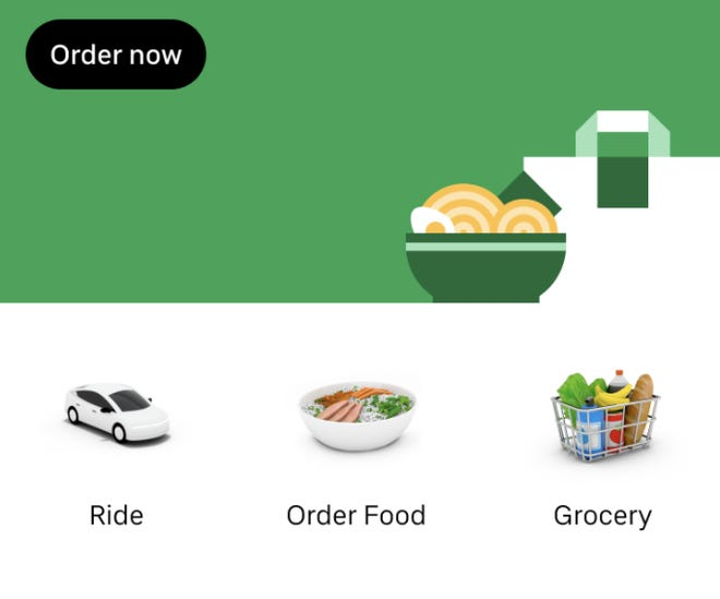 This is a screengrab from an Uber app offering grocery delivery service.