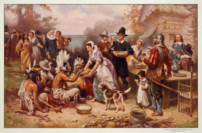 "A reproduction of a painting by Jean Leon Gerome Ferris titled, ""First Thanksgiving,"" made between 1900-1920. Most American children grow up with the feel-good story of the Pilgrims, but there is a darker side to that tale."
