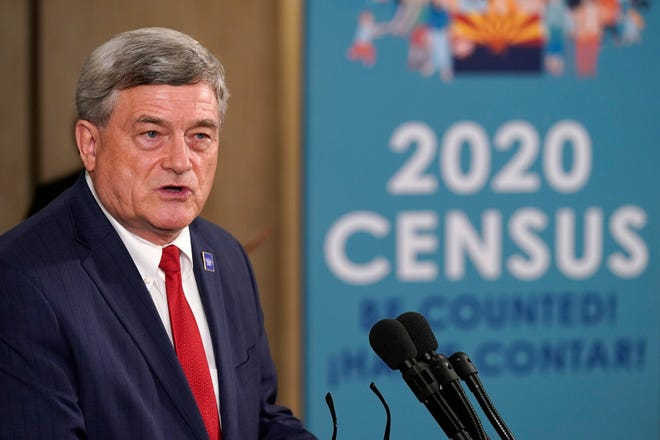 U.S. Census Director Steven Dillingham speaks as he joins Arizona Gov. Doug Ducey as they hold a news conference in Phoenix on Thursday to urge Arizonans to participate in the nation's once-a-decade census population count. Ending the 2020 census at the end of September instead of the end of October, could cost Florida and Montana congressional seats and result in Texas, Florida, Arizona, Georgia, and North Carolina losing $500 million in federal funding for healthcare for its neediest residents.
