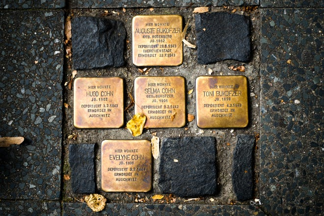 So called stumbling blocks, marking the last voluntarily chosen places of residence of the victims of the Nazis, are embedded in the pavement in Berlin, Germany. The Department for Research and Information on Anti-Semitism Berlin, or RIAS documented 410 incidents in Berlin, more than two a day, in the first half of 2020, including physical attacks, property damage, threats, harmful behavior and anti-Semitic propaganda.