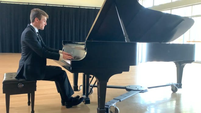 A still from Gabe Long's video submission for the 2020 Eugene Symphony Guild's Young Artist Competition.