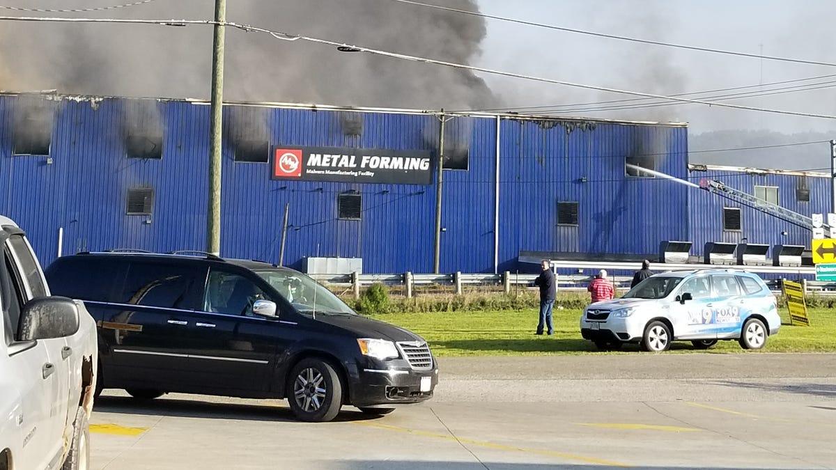 Colfor Manufacturing plant ablaze in Malvern area