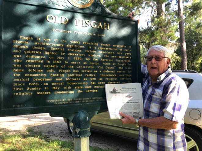 Visiting Tallahassee: Arch Rivenbark visited Old Pisgah in Tallahassee. Services first held at the site in the early 1820s with the present sanctuary being dedicated in 1859. Arch and Linda Burgess toured the adjacent cemetery to get inspiration for Arch's annual Halloween display.
