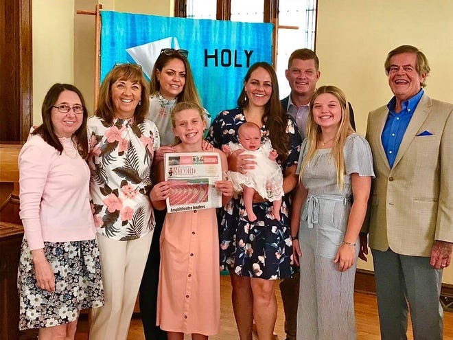 Baptism and birthday in Iowa: Don and Hilde Berdine traveled with their oldest daughter, Jeanette, to Missouri Valley, Iowa, for the baptism of their 3-month-old granddaughter Mallory Jean. Hilde and her sister Cora hosted a post birth baby shower which was postponed from April due to COVID-19. In addition, it was Don's and their younger daughter Melissa's birthday on the same day, leading to a number of wonderful celebrations during the family gathering.  Pictured, from left, Cora Musial, Hilde Berdine, Jeanette Berdine, Makenna Huegli, Melissa Huegli holding Mallory, Todd Huegli, Addison Huegli, and Don Berdine.