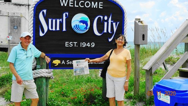 SURF CITY: Tom and Isabelle Frost visited their son and daughter-in-law in North Carolina. Here they are on Topsail Island.
