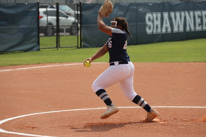 Shawnee pitcher Anneca Anderson delivers a pitch against Ponca City on Saturday. Anderson fired a two-hit shutout while striking out 13 at Jenks Monday night.