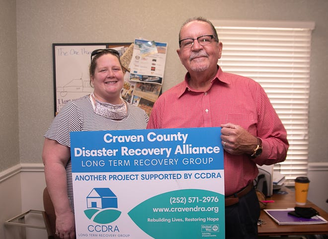 Kristy Kulberg – assistant recovery director for CCDRA and Jim Hackett, chairman of the organization's Emotional Wellness and Spiritual Committee, are looking for people to help and, especially, people to help them help others. [Bill Hand / Sun Journal Staff]