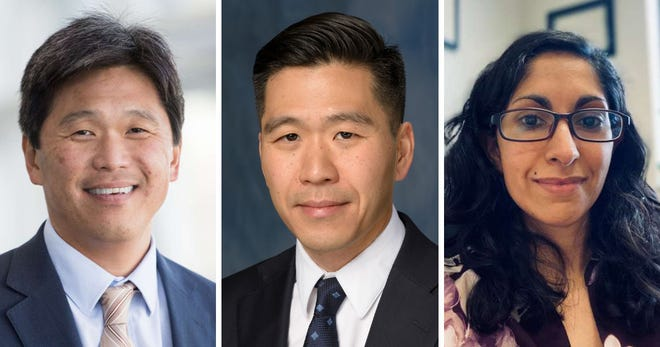UF Health neurosurgeons Dr. Brian Hoh, from left, Dr. Daniel Hoh and Dr. Maryam Rahman were elected to leadership positions in the Congress of Neurological Surgeons, one of the largest international neurosurgical societies.