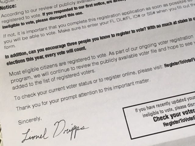 Voter registration letter