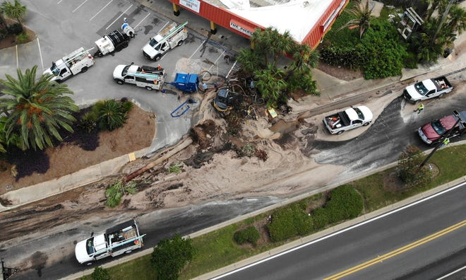 A palm tree is on its side after falling near a broke water line. The water line flooded an area under construction on Thomas Drive near the Pickle Patch Restaurant in Panama City Beach on Sept. 22, 2020. Traffic was not impacted and no injuries were reported.