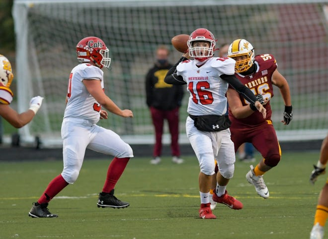 Westerville South's Peter Pedrozo has completed 78 of 105 passes for 1,321 yards, 16 touchdowns with two interceptions this season.