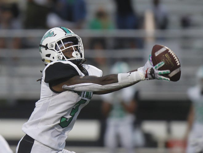 Dublin Coffman's Sheron Phipps caught five passes for 102 yards and also rushed for 46 yards and one score on three carries in a 49-0 victory over HIlliard Davidson on Sept. 18.