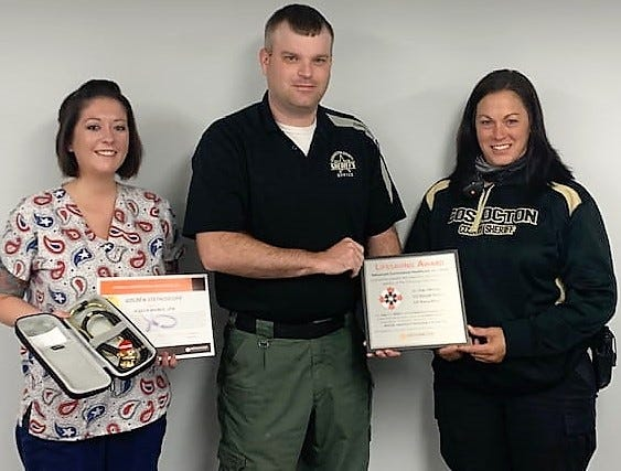 Nurse Jessican Haines received the Golden Stethoscope Award and Corrections Officers Donald Perdue and Marea Mizer received Lifesaving Awards for an incident in the jail on July 17, when an inmate stopped breathing.