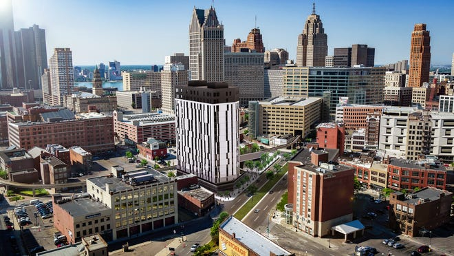 A rendering for The Exchange, a planned 16-story residential tower for Detroit's Greektown district.