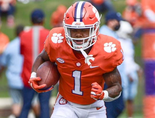 Clemson running back Demarkus Bowman(1) warms up before the game with The Citadel Saturday, Sept. 19, 2020 at Memorial Stadium in Clemson, S.C.