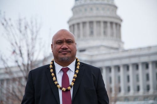 John Fitisemanu before the Utah Capitol Building