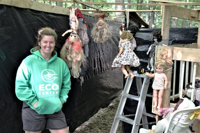 Emily Ollervides, owner and operator of the ECO Center near Caledonia, is shown at the one of the displays built for the Phobia haunted trail this year. The trail will be open for four weekends in October beginning Friday and Saturday, Oct. 9-10. This is the fifth year of operation for the haunted trail, Ollervides said.