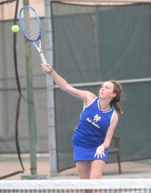 Mountain Home's Sarah Godfrey (pictured) and Macie Heide won their doubles match against Russellville on Tuesday.