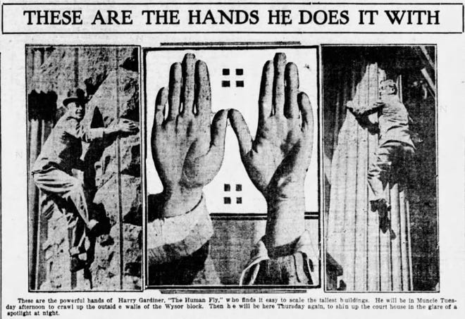 """An item from The Muncie Evening Press in December 1916 promotes a visit to Muncie by """"the Human Fly."""""""