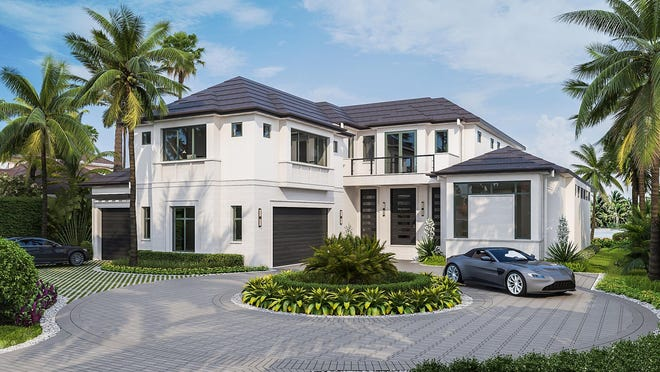 Construction is underway on a new London Bay Homes luxury estate model home at 4155 Cutlass Lane, featuring views of Doubloon Bay in the prestigious Port Royal neighborhood.