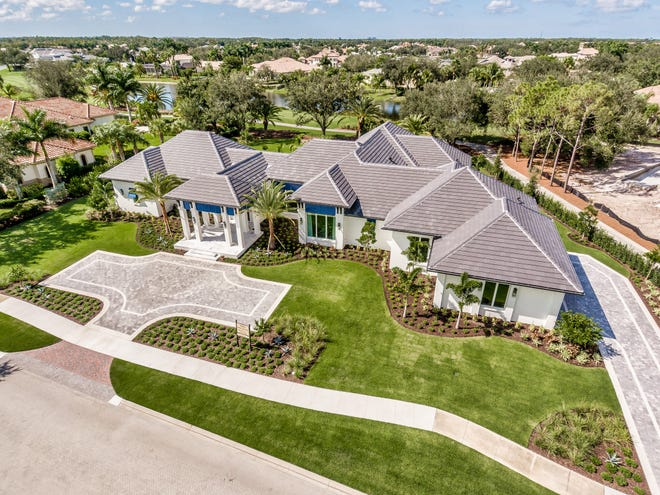 An aerial view of Diamond Custom Homes' Ladera Model, recipient of a Silver Aurora Award for Best Custom Home 4,000 to 6,000 sq. ft.