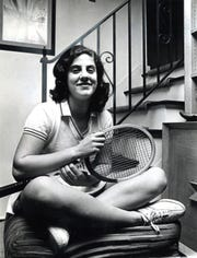 Teaneck 1/31/72 Abbe Seldin with her tennis racket. She is suing to lift ban on girls in HS sports.