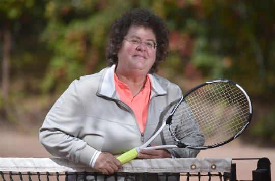 Abbe Seldin, former top-ranked tennis player, went to federal court in 1972 to gain the right to play for the Teaneck High School boy's tennis team.  Her attorney was future U.S. Supreme Court Justice Ruth Bader Ginsburg. She was on Sept.22, 2020 near her home in Wellfleet, Ma.