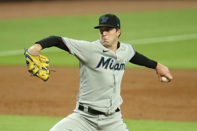 Miami Marlins starting pitcher Trevor Rogers throws against  the Atlanta Braves in the first inning of their game on Sept. 21, 2020 at Truist Park in Atlanta, GA. Rogers threw four complete innings and Atlanta won, 5-4.