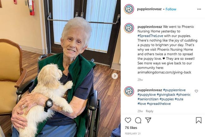 The pet stores promoted a puppy visit to a nursing home, which activists say the company needs a USDA license to do.