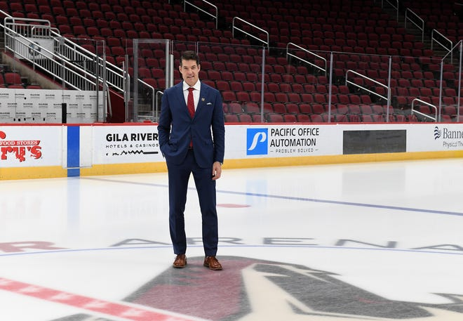 Bill Armstrong, new Coyotes GM, at Gila River Arena in September 2020.