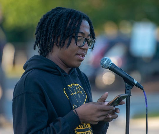 Central York senior Unique Fields speaks at a protest outside the Central York School District Educational Service Center on Monday, Sept. 21, 2020.