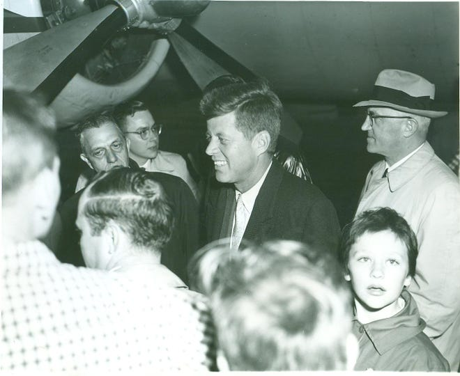 John Fitzgerald Kennedy, the man who would be the 35th President of the United States, arrived at the Richmond Municipal Airport to greet a crowd of locals on April 29, 1960. Kennedy was in Richmond stumping for the presidency.