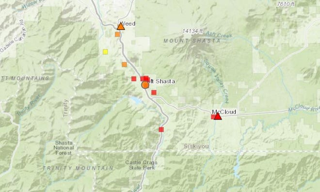 Air quality was unhealthy (red) to unhealthy for vulnerable groups (orange) on Tuesday morning (Sept. 22, 2020) in Siskiyou County.