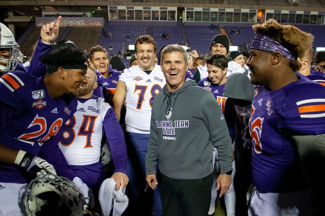 Brad Laird (center) and Northwestern State open the spring football season Feb. 20 at Lamar.