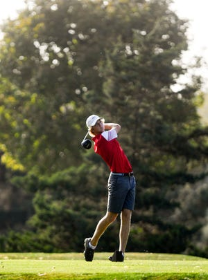 Lincoln's Nash Stenberg tees off in the final round of the Boys City Championship on Tuesday, September 22, at Prairie Green Golf Course in Sioux Falls.