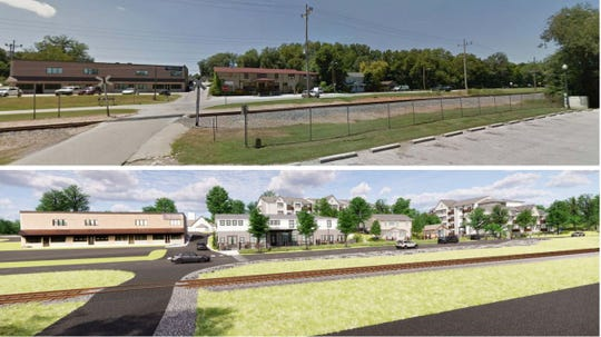 The Springfield City Council on Monday approved a plan for a new mixed-use development along Lone Pine Avenue. The bottom photo is a rendering of that project.