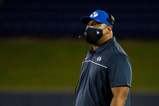 BYU head coach Kalani Sitake looks on during a stoppage in play during a NCAA college football game against the Navy, Monday, Sept. 7, 2020, in Annapolis, Md. (AP Photo/Tommy Gilligan)
