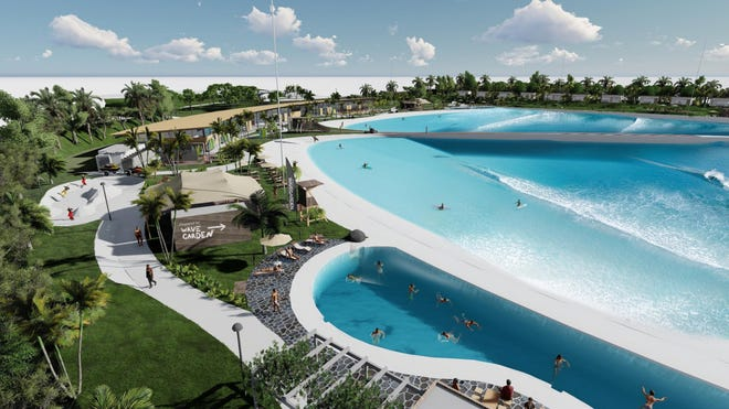 A visualization of the Wavegarden at Willow Lakes on West Midway Road in Fort Pierce, a surfing and entertainment village that received a first set of zoning approvals from the Fort Pierce City Commission, Sept. 21, 2020.