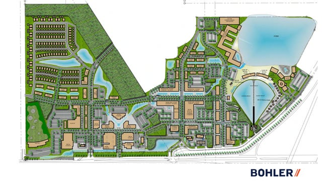 Design plans for the 200-acre Willow Lakes on West Midway Road in Fort Pierce, a WaveGarden surfing and entertainment village that received a first set of zoning approvals from the Fort Pierce City Commission, Sept. 21, 2020.