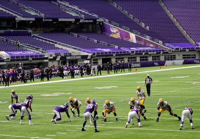 The Green Bay Packers play the Minnesota Vikings on Sept. 13 at U.S. Bank Stadium sans fans in Minneapolis.