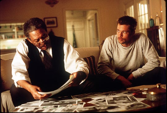 """Morgan Freeman,  left, and Brad Pitt saw some terrible things as Los Angeles police detectives in """"Seven."""""""